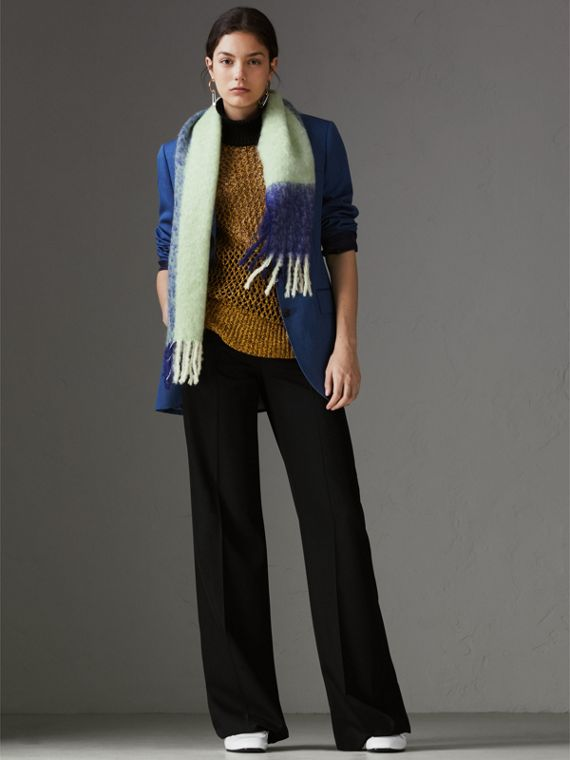 Two-tone Mohair Wool Scarf in Pistachio Green | Burberry United Kingdom - cell image 2