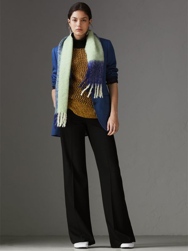 Two-tone Mohair Wool Scarf in Pistachio Green | Burberry - cell image 2