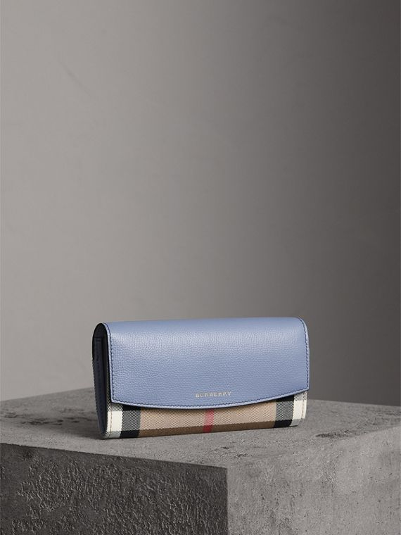 House Check And Leather Continental Wallet in Slate Blue