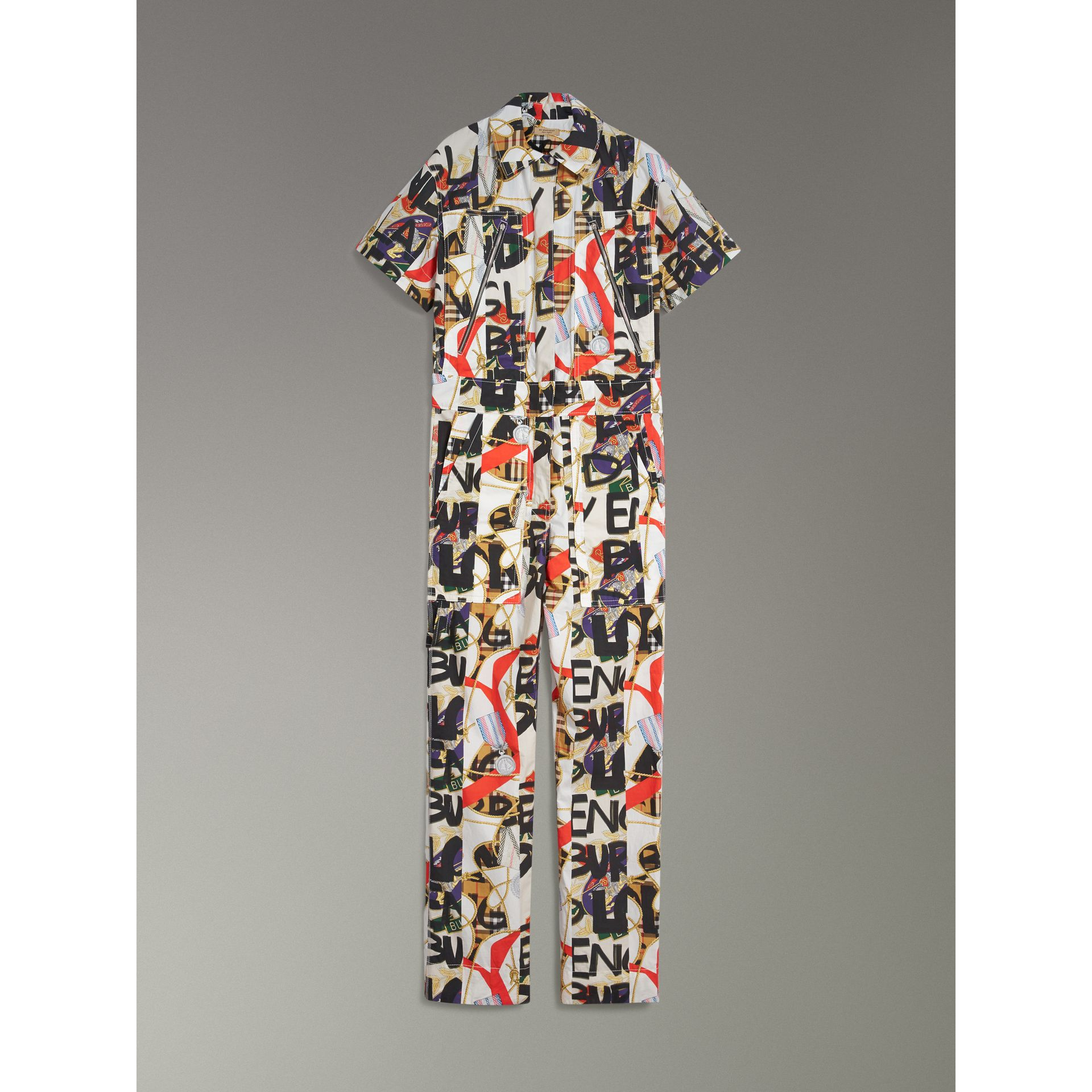 Graffiti Archive Scarf Print Cotton Jumpsuit in Stone - Women | Burberry - gallery image 3