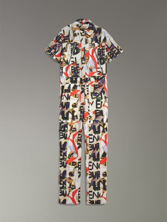 Graffiti Archive Scarf Print Cotton Jumpsuit in Stone