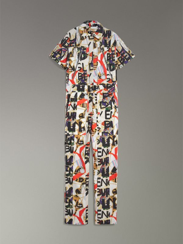 Graffiti Archive Scarf Print Cotton Jumpsuit in Stone - Women | Burberry - cell image 3