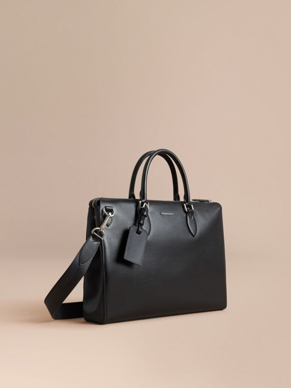 Large London Leather Briefcase in Black - Men | Burberry