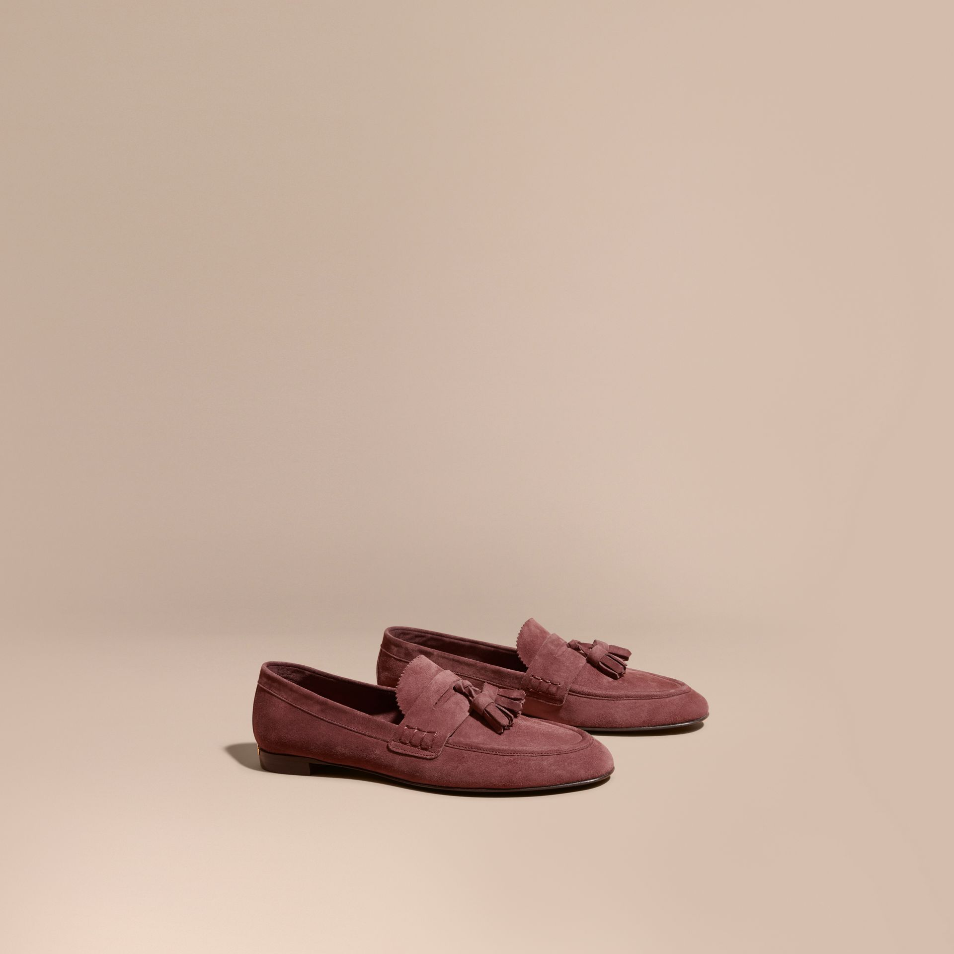Tasselled Suede Loafers Taupe Rose - gallery image 1