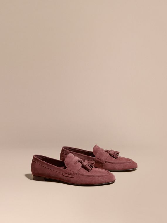 Tasselled Suede Loafers Taupe Rose