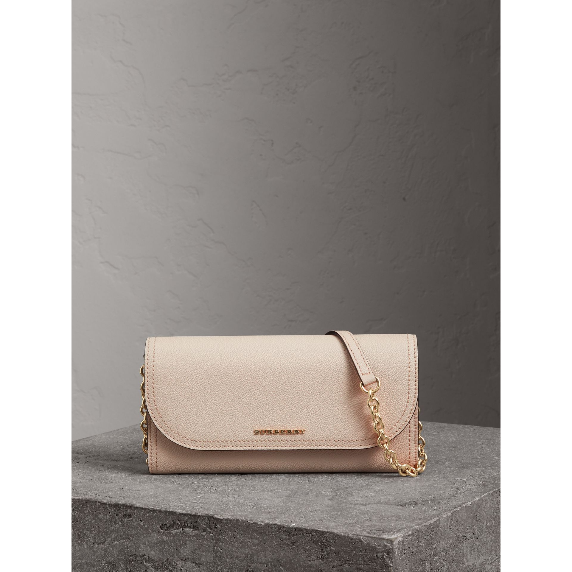 Leather Wallet with Chain in Limestone - Women | Burberry Singapore - gallery image 6