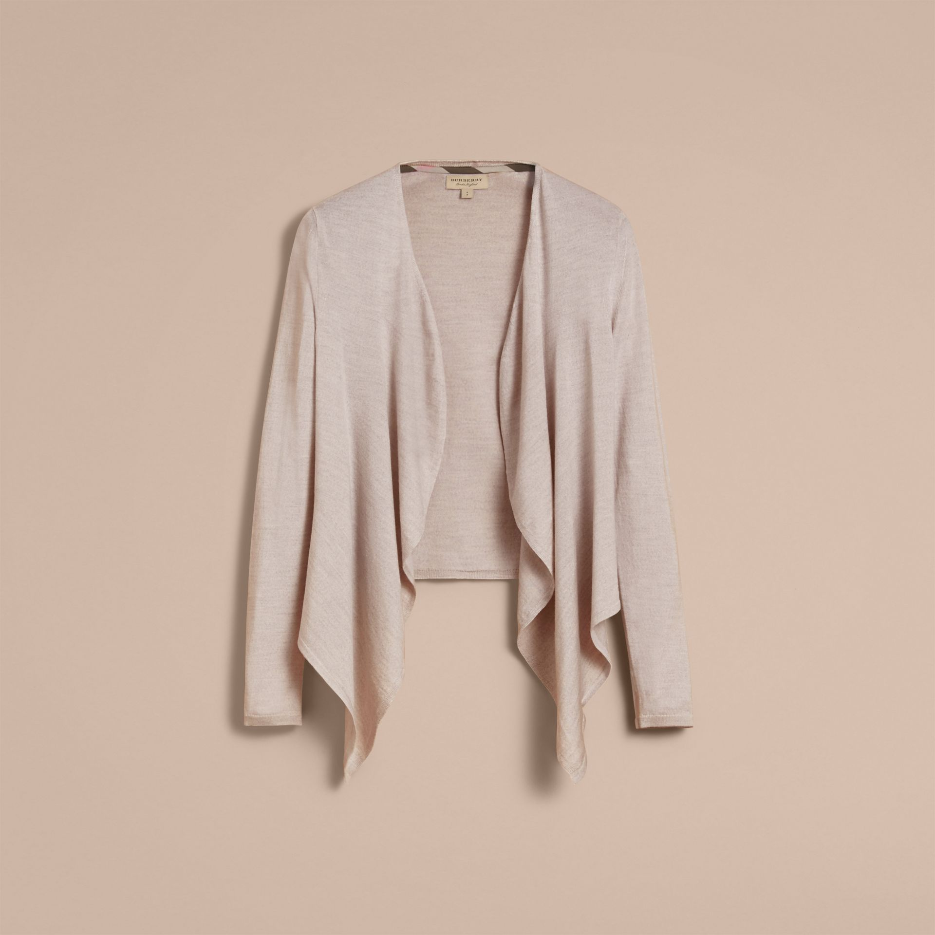 Merino Wool Silk Open Cardigan in Light Grey Melange - Women | Burberry United Kingdom - gallery image 4