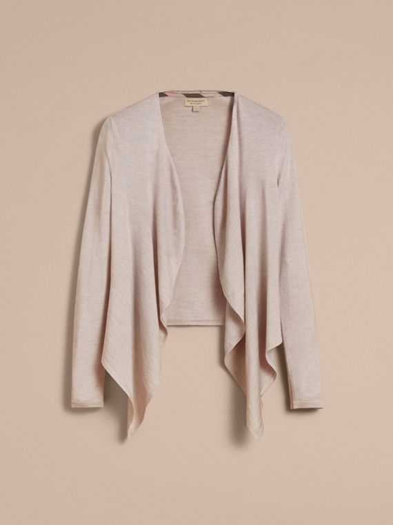 Merino Wool Silk Open Cardigan in Light Grey Melange - Women | Burberry - cell image 3