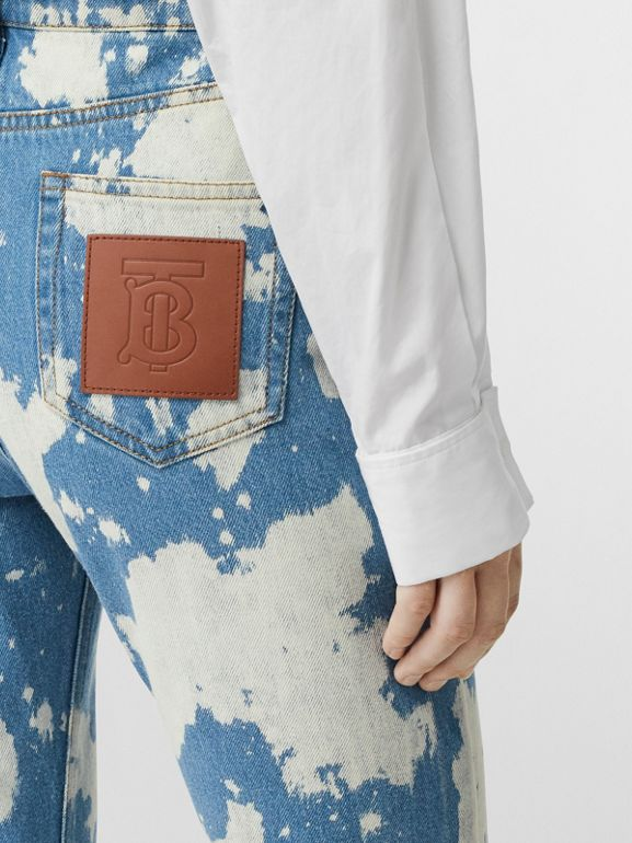 Straight Fit Monogram Motif Bleached Denim Jeans in Blue - Women | Burberry United Kingdom - cell image 1