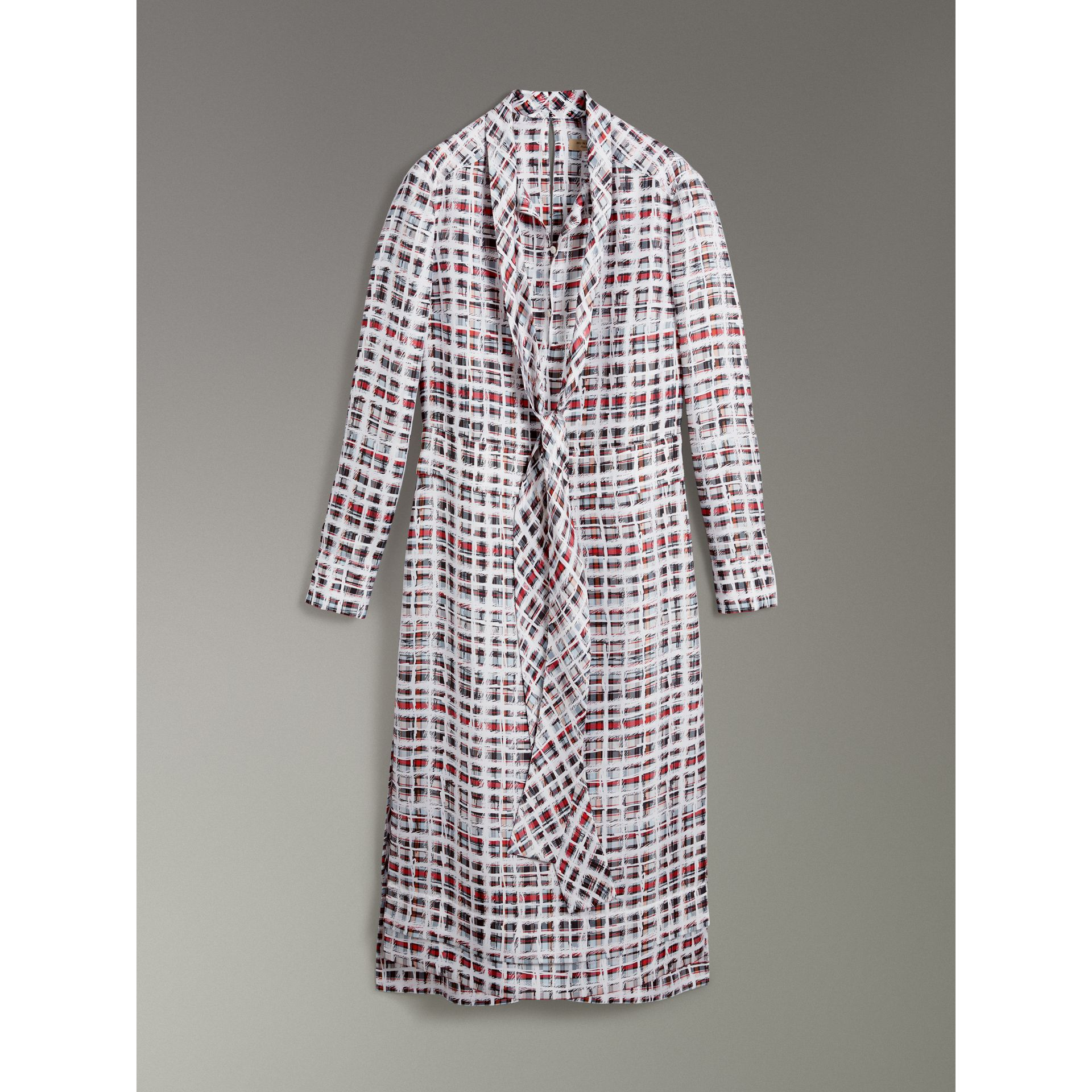 Tie-neck Scribble Check Silk Dress in Cadmium Red - Women | Burberry - gallery image 3