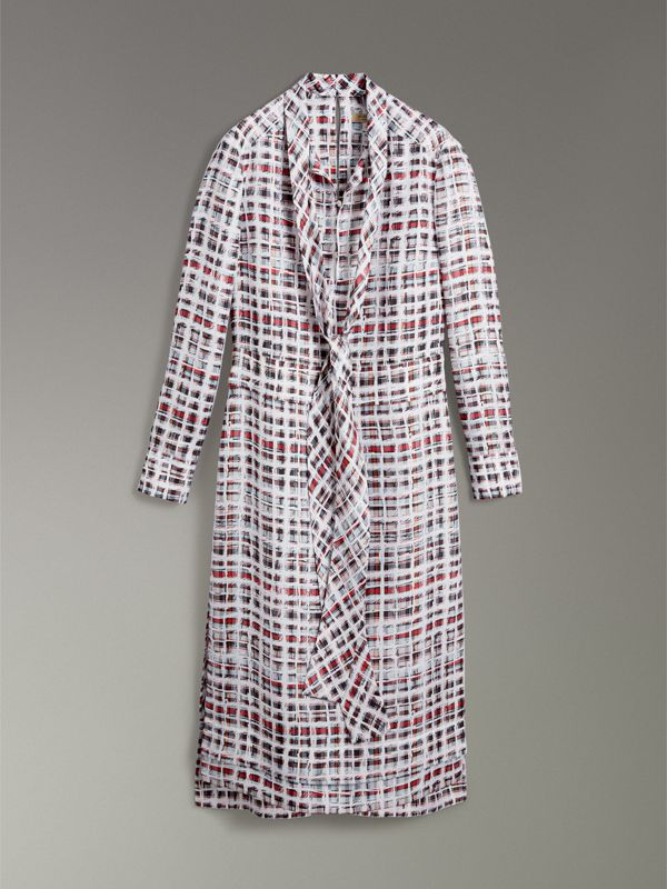 Tie-neck Scribble Check Silk Dress in Cadmium Red - Women | Burberry - cell image 3