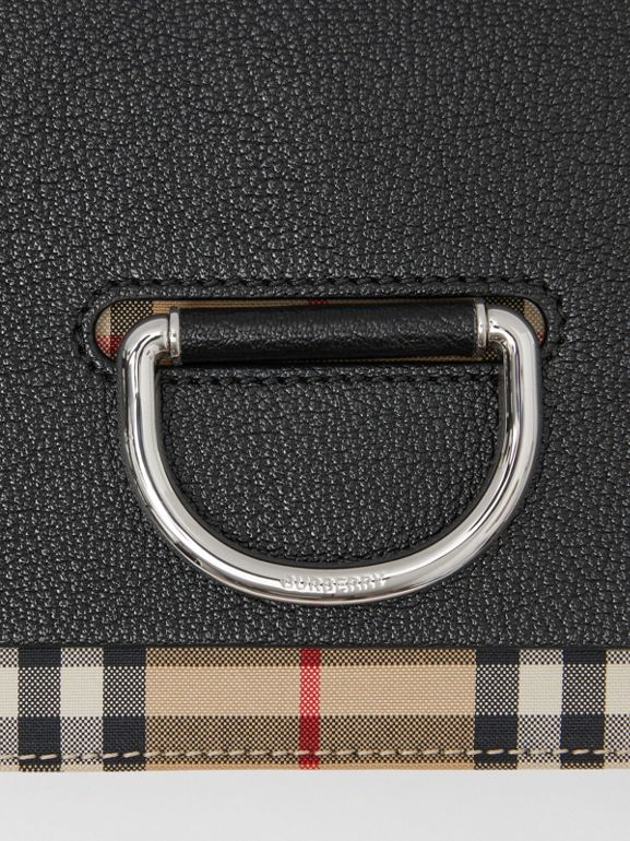 Borsa The D-ring piccola in pelle con dettagli Vintage check (Nero) - Donna | Burberry - cell image 1