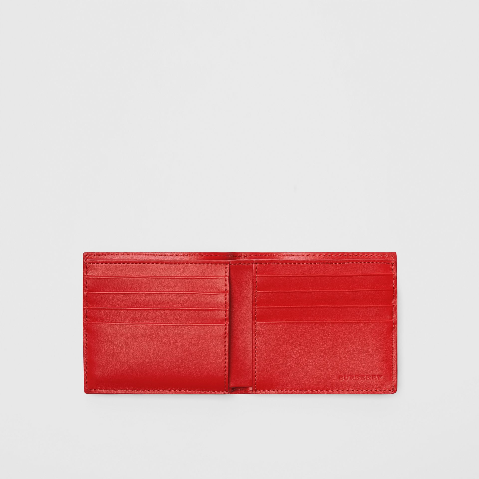 Perforated Check Leather International Bifold Wallet in Rust Red - Men | Burberry Canada - gallery image 2