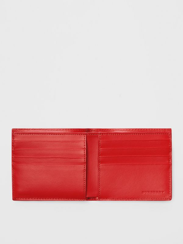 Perforated Check Leather International Bifold Wallet in Rust Red - Men | Burberry Canada - cell image 2