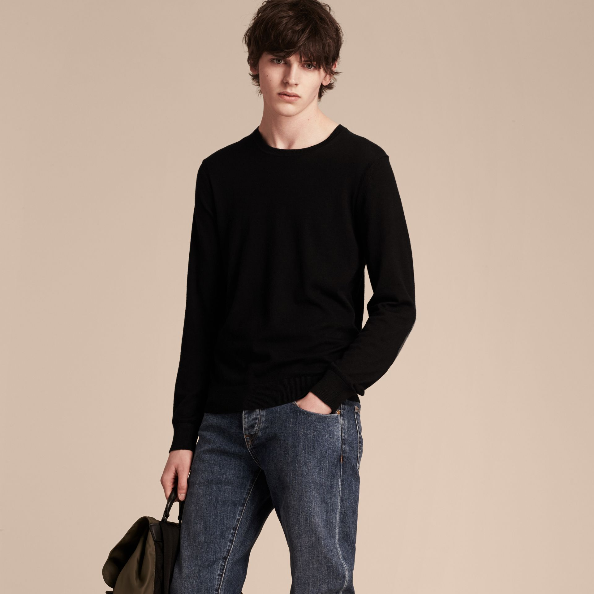 Check Trim Cashmere Cotton Sweater in Black - Men | Burberry Australia - gallery image 6