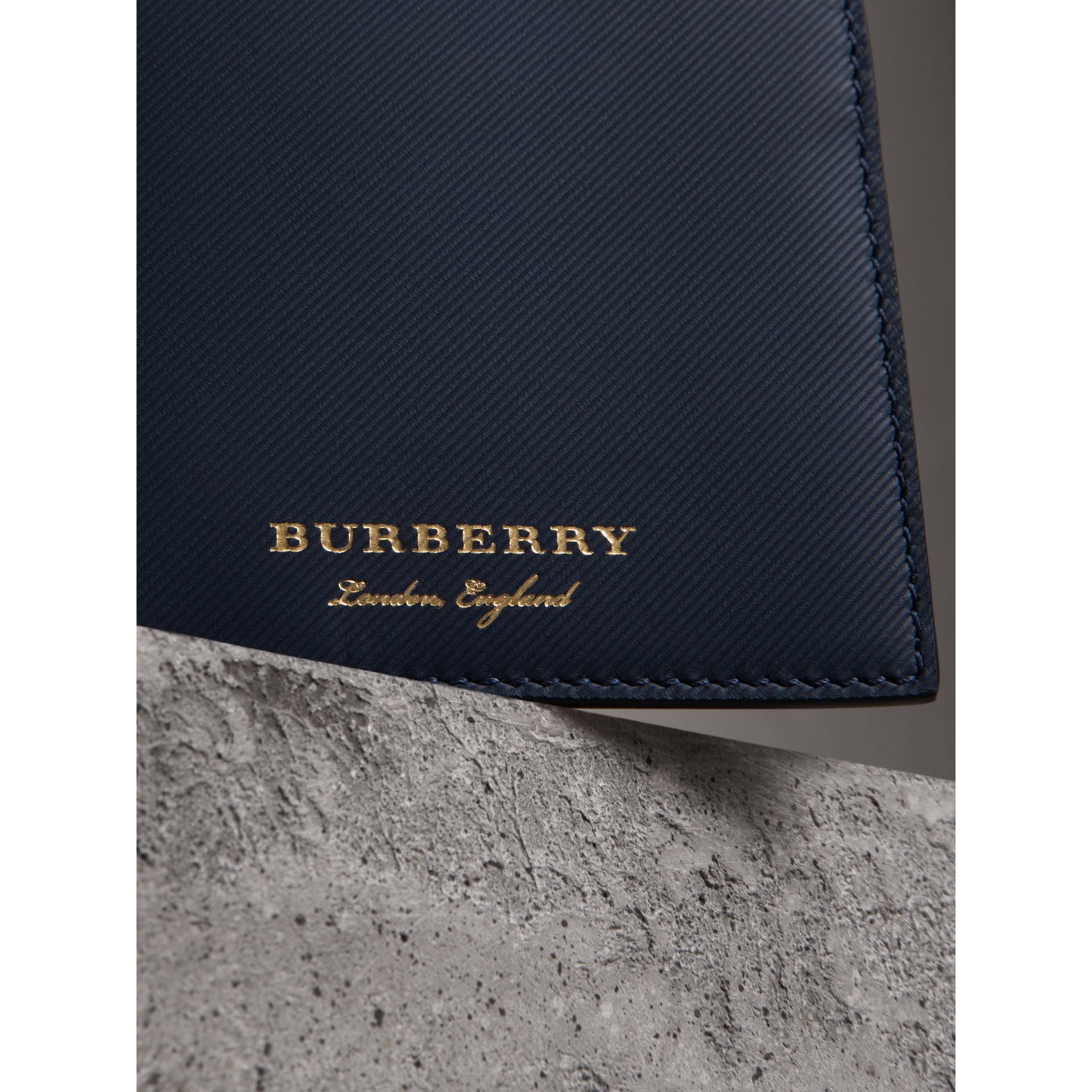 Trench Leather International Bifold Wallet in Ink Blue - Men | Burberry Canada - gallery image 1