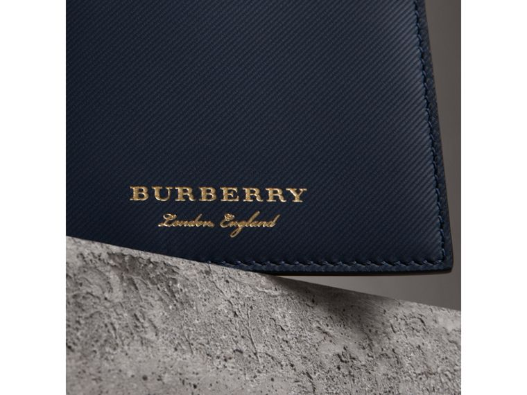 Trench Leather International Bifold Wallet in Ink Blue - Men | Burberry Canada - cell image 1