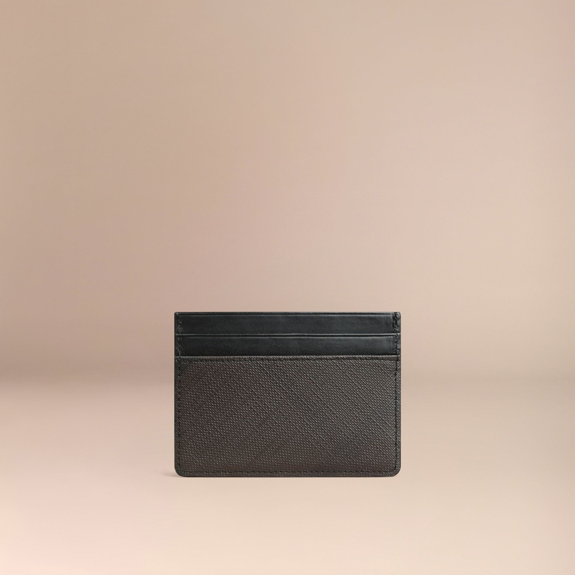 London Check Card Case in Chocolate/black - gallery image 3