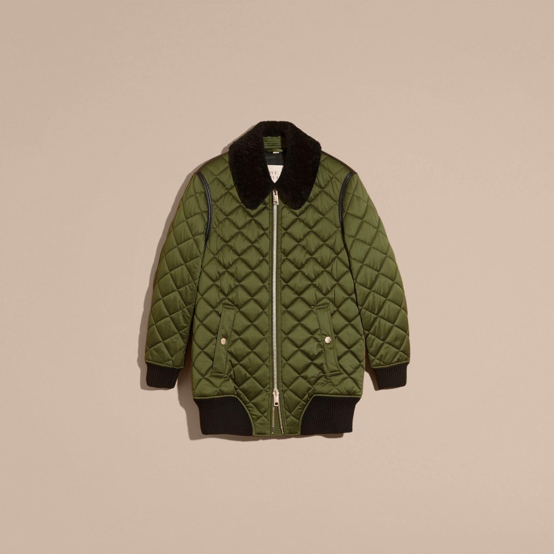 Bright moss green Long Quilted Bomber Jacket with Shearling Collar - gallery image 4