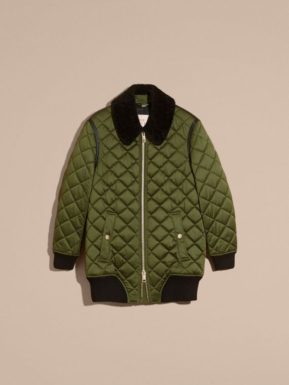 Bright moss green Long Quilted Bomber Jacket with Shearling Collar - cell image 3