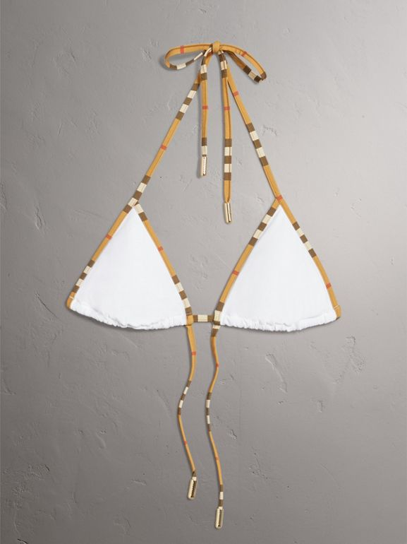 Vintage Check Trim Triangle Bikini in White - Women | Burberry United Kingdom - cell image 1