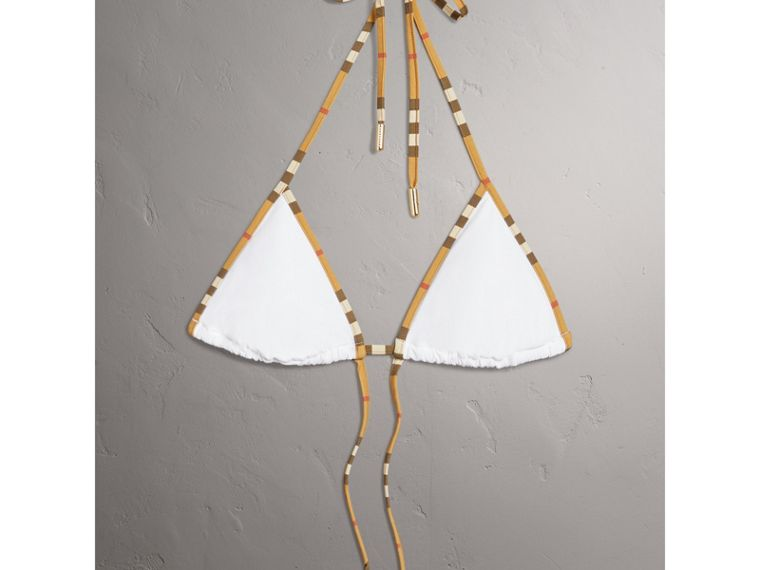 Vintage Check Trim Triangle Bikini in White - Women | Burberry - cell image 1