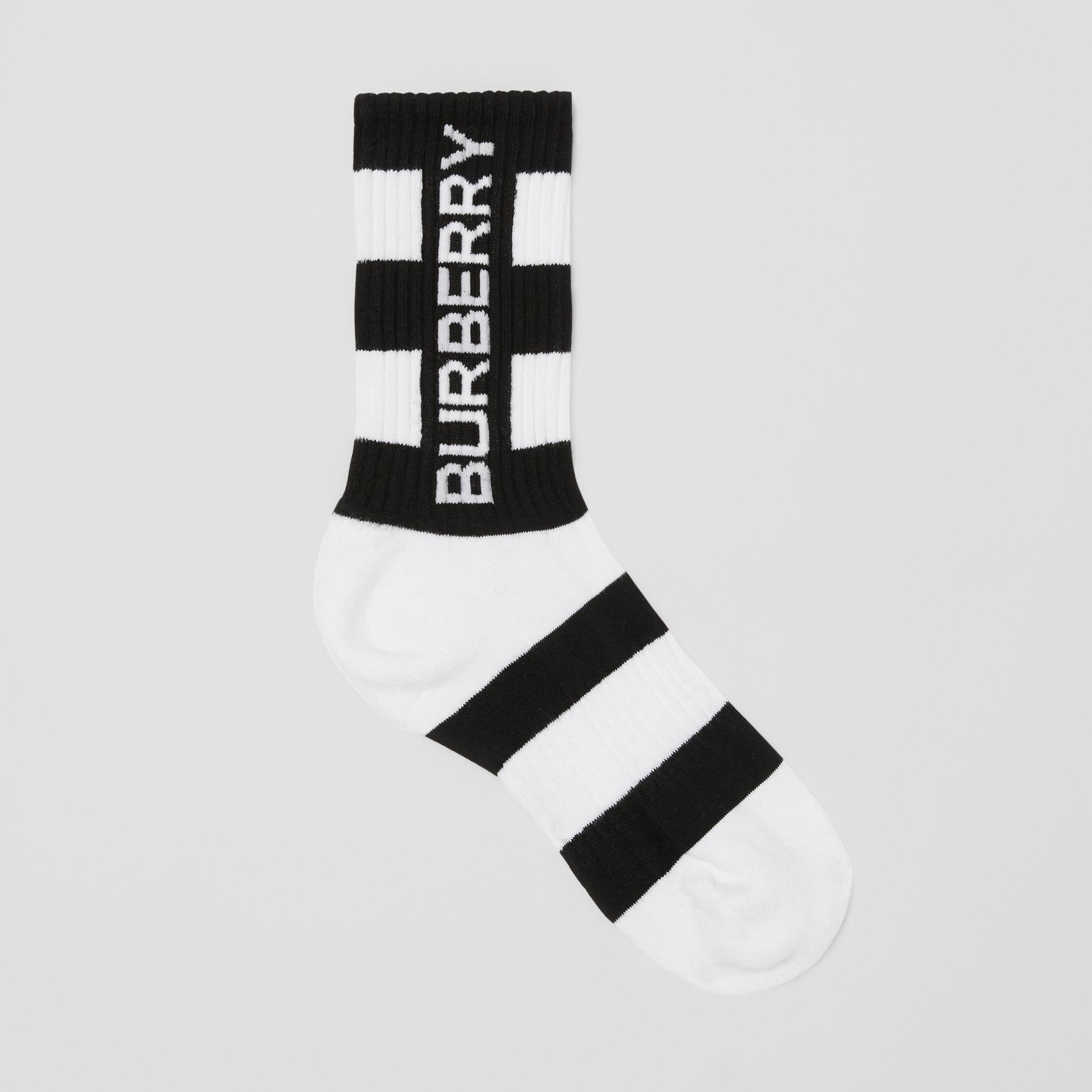 Logo Intarsia Striped Technical Stretch Cotton Socks in Black/white | Burberry Canada - 1