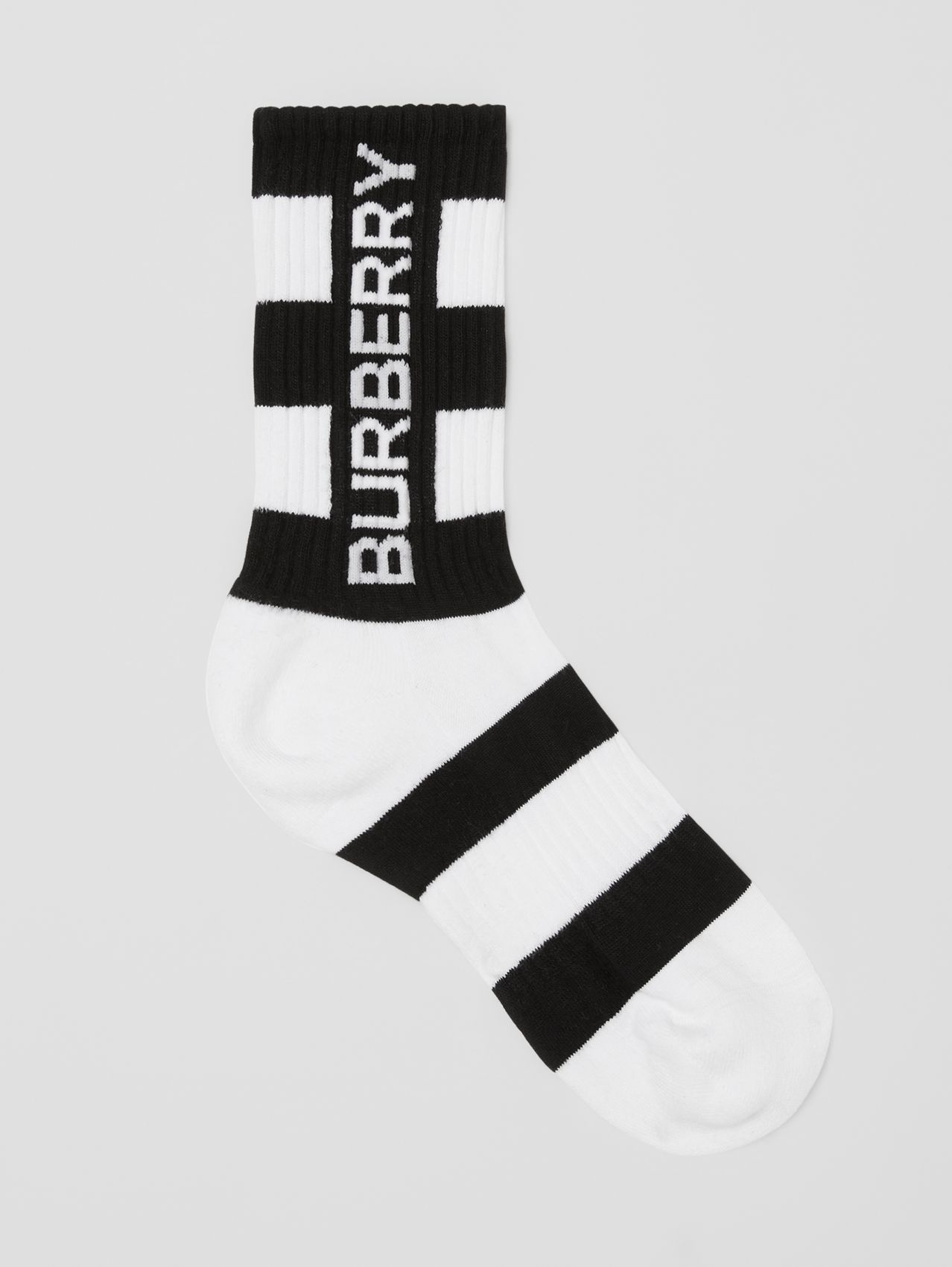 Logo Intarsia Striped Technical Stretch Cotton Socks in Black/white