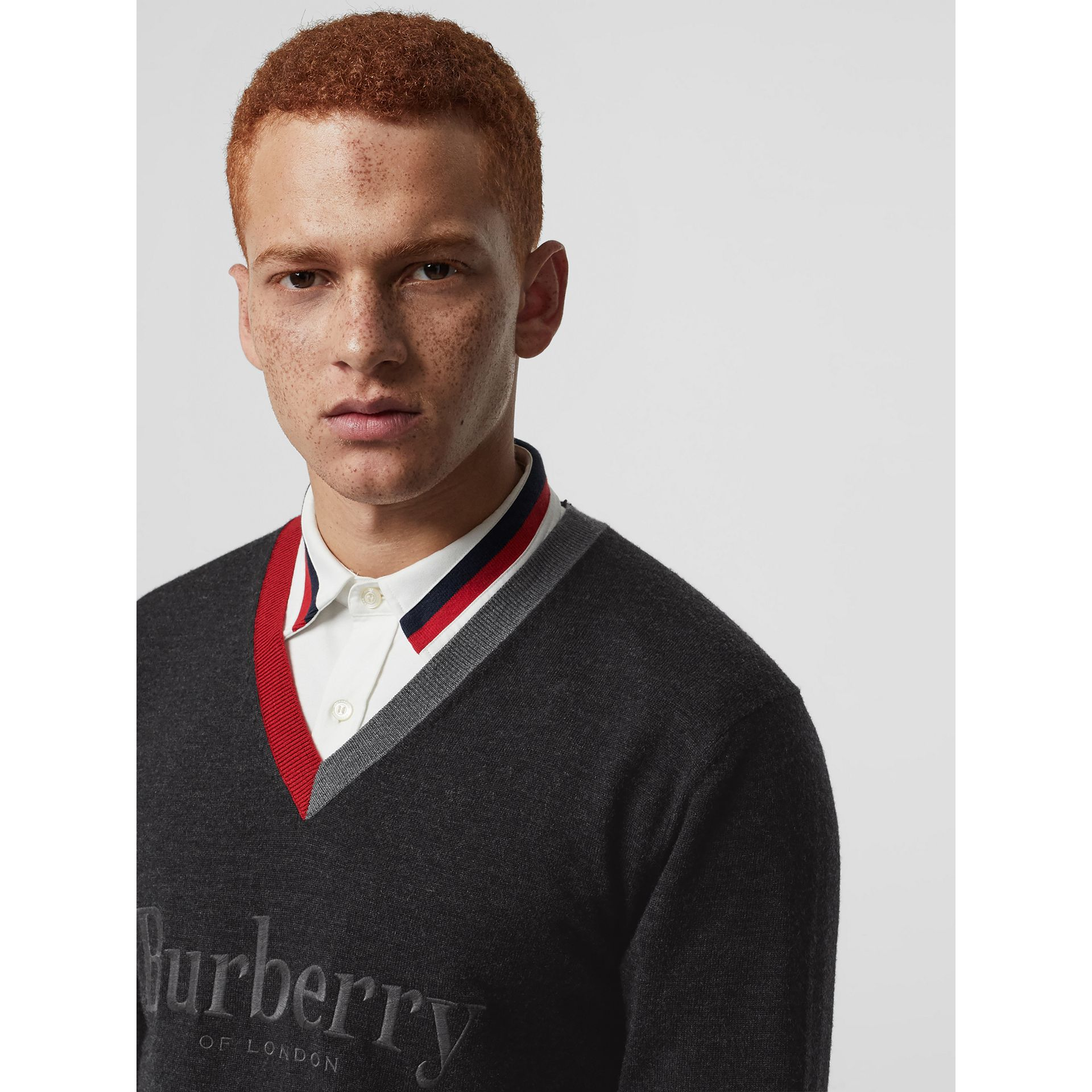 Embroidered Logo Merino Wool V-neck Sweater in Charcoal - Men | Burberry United Kingdom - gallery image 1