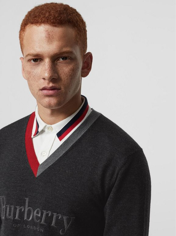 Embroidered Logo Merino Wool V-neck Sweater in Charcoal - Men | Burberry Singapore - cell image 1