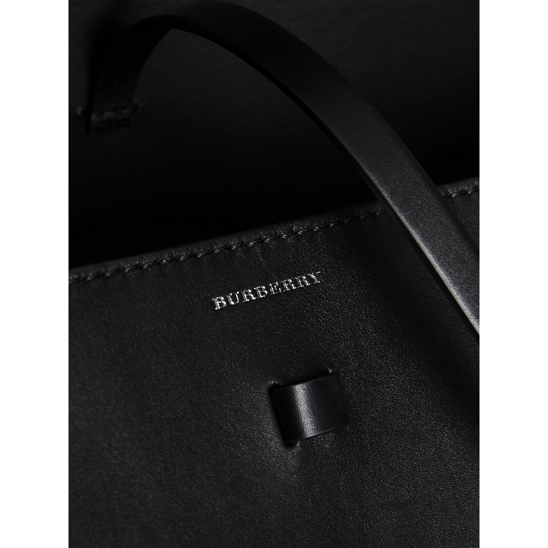 The Large Cotton Linen and Leather Bucket Bag in Black - Women | Burberry Canada - gallery image 1