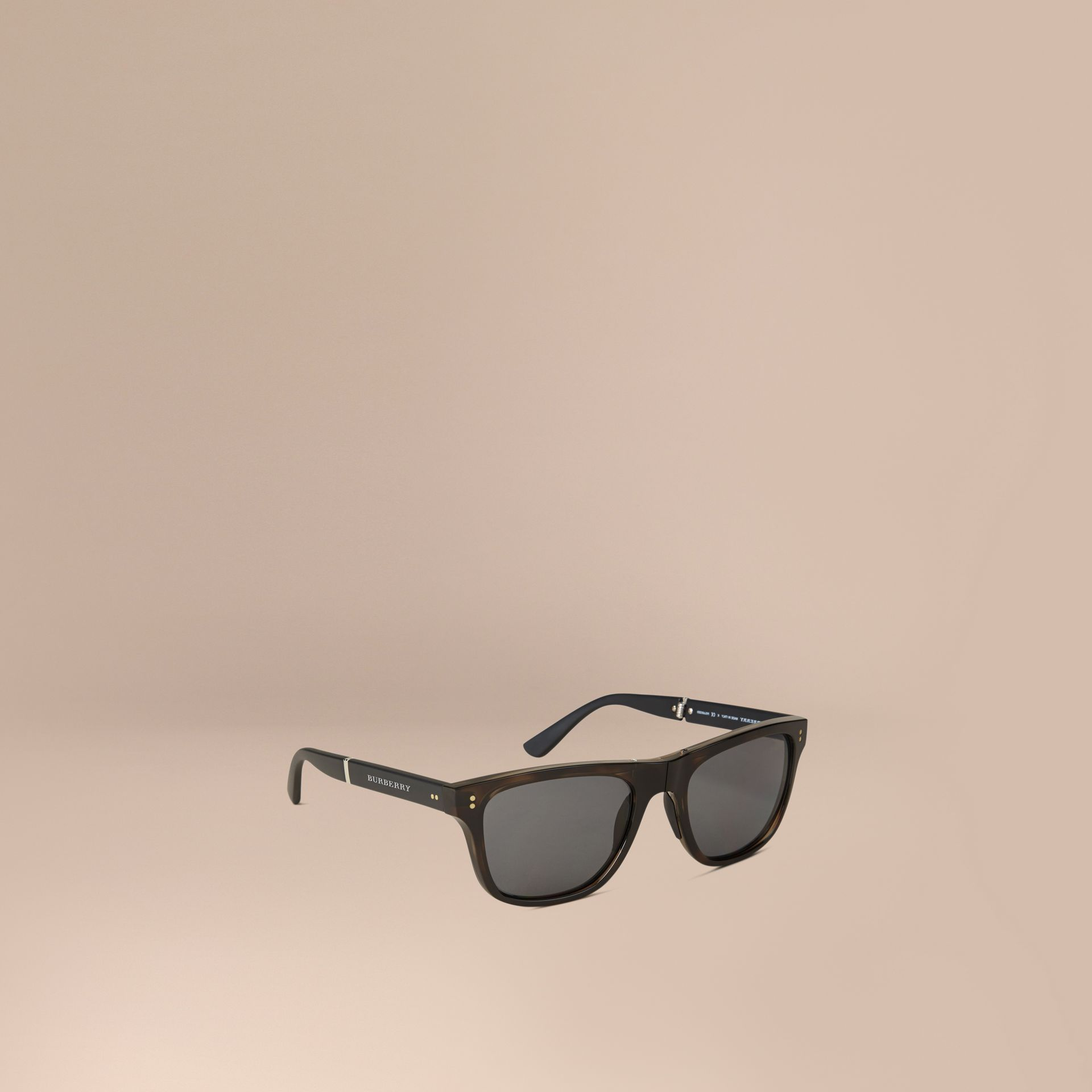 Folding Rectangular Frame Polarised Sunglasses in Grey - Men | Burberry Australia - gallery image 0