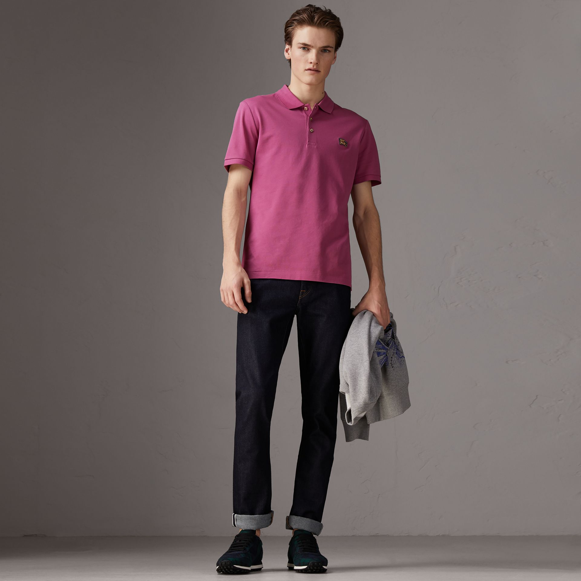 Cotton Piqué Polo Shirt in Pink Azalea - Men | Burberry - gallery image 0