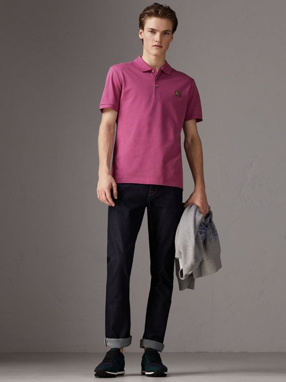 Cotton Piqué Polo Shirt in Pink Azalea