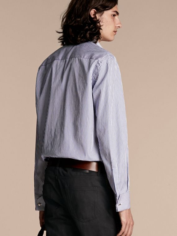 Mid indigo Ruffle Detail Striped Cotton Shirt - cell image 2