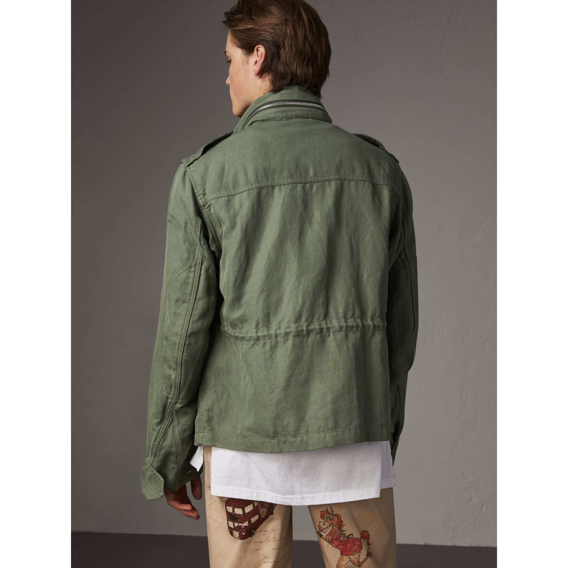Packaway Hood Cotton Field Jacket with Fur Warmer in Slate Green - Men | Burberry - gallery image 3