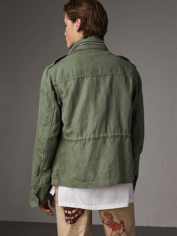 Packaway Hood Cotton Field Jacket with Fur Warmer in Slate Green - Men | Burberry - cell image 2