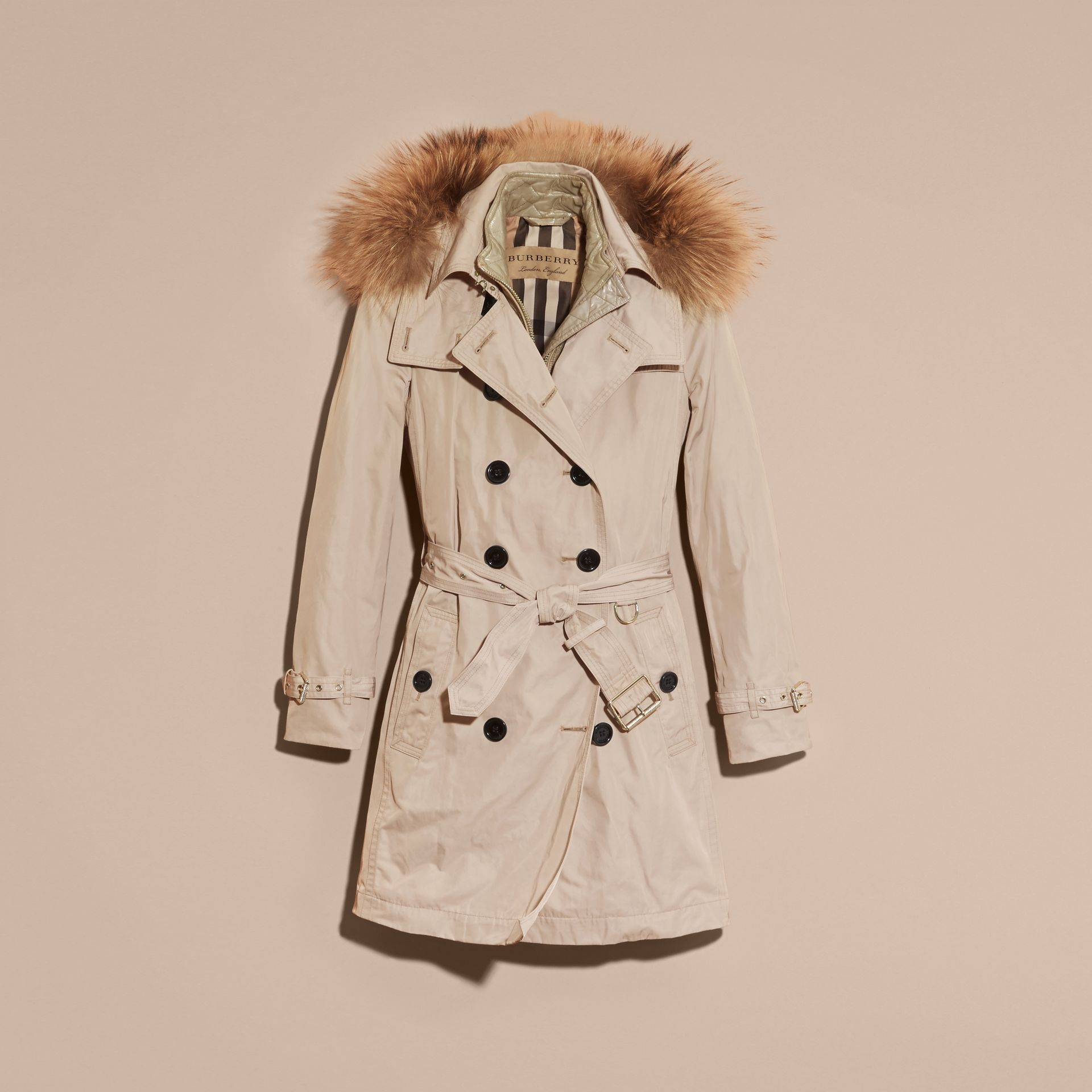 Stone Raccoon Fur Trim Hood Trench Coat with Gilet - gallery image 4