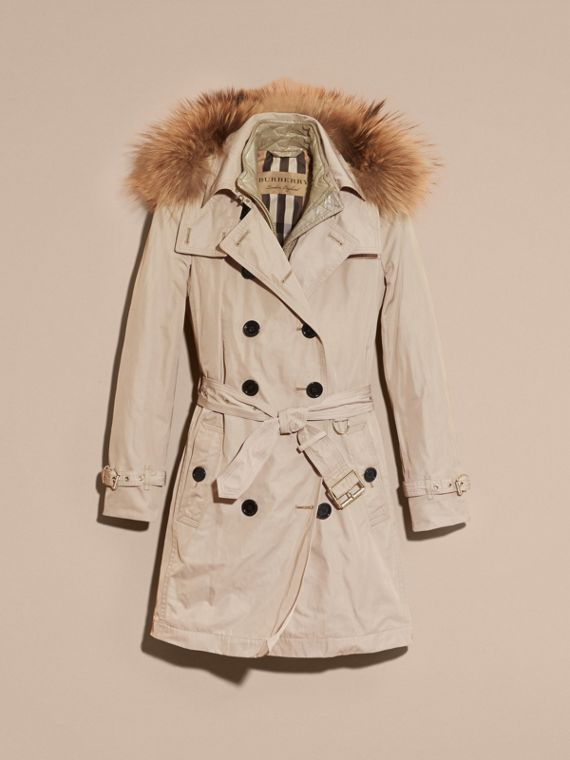 Stone Raccoon Fur Trim Hood Trench Coat with Gilet - cell image 3