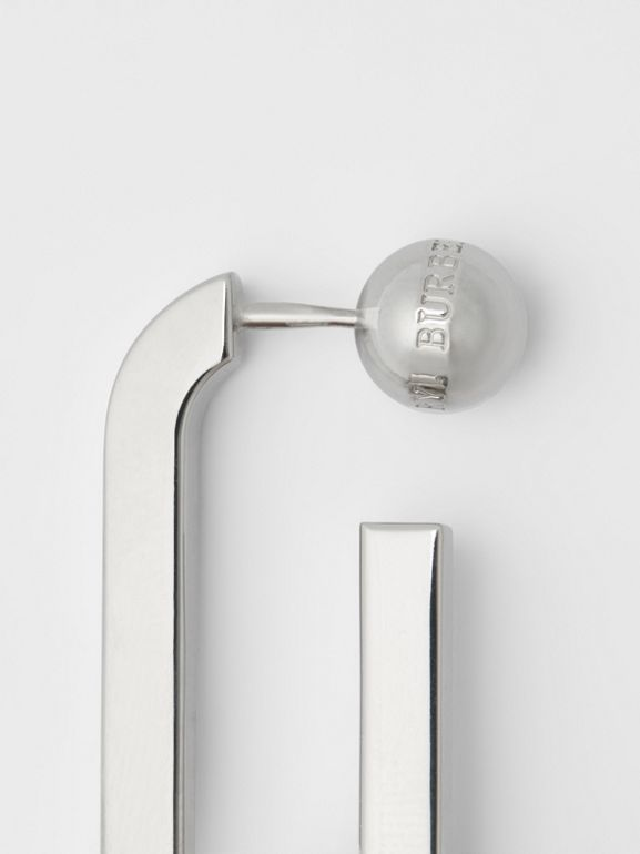 Palladium-plated Link Drop Earrings in Palladio - Women | Burberry United States - cell image 1
