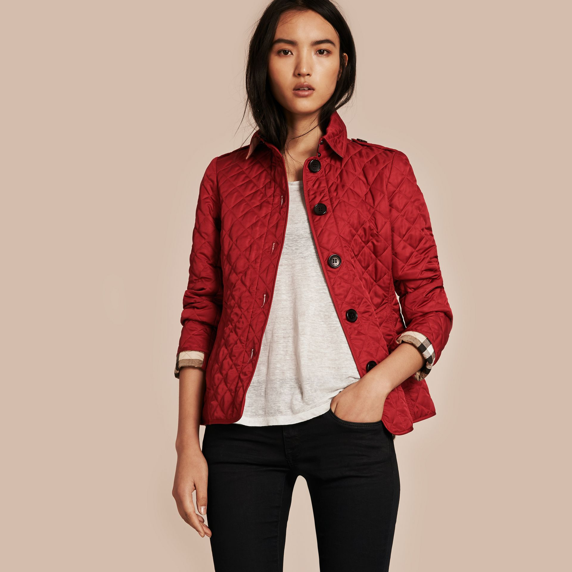 Diamond Quilted Jacket Parade Red - gallery image 5