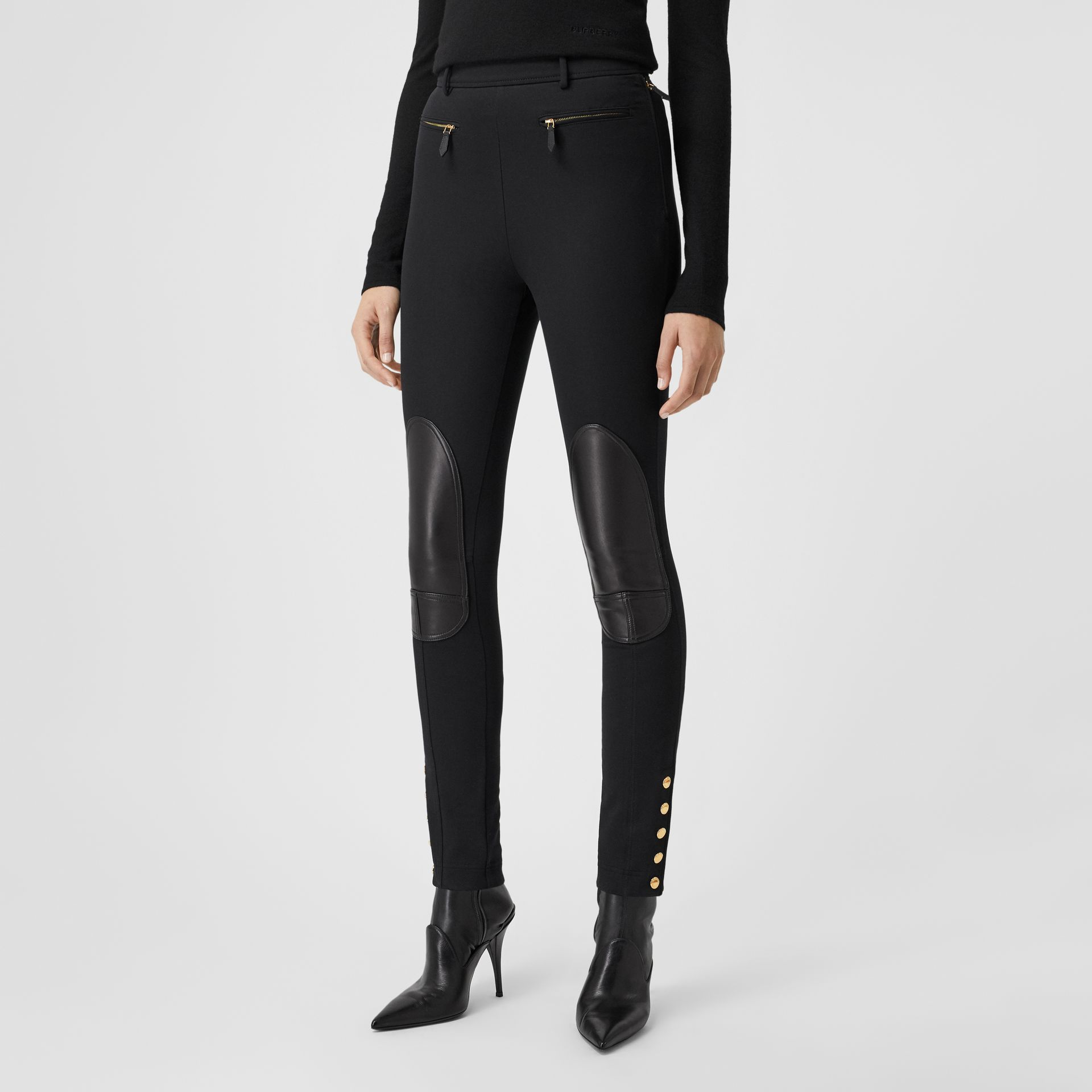 Lambskin Trim Stretch Cotton Blend Trousers in Black - Women | Burberry - gallery image 5