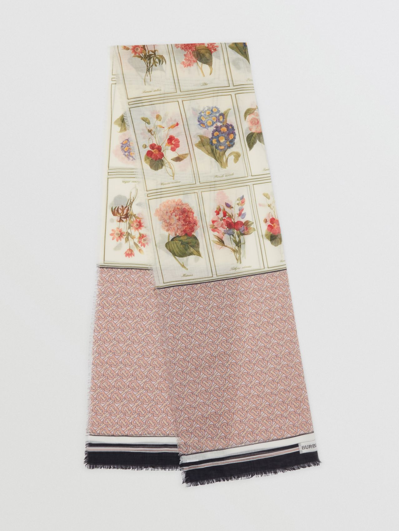 Botanical and Monogram Print Silk Wool Scarf in Pale Copper Pink