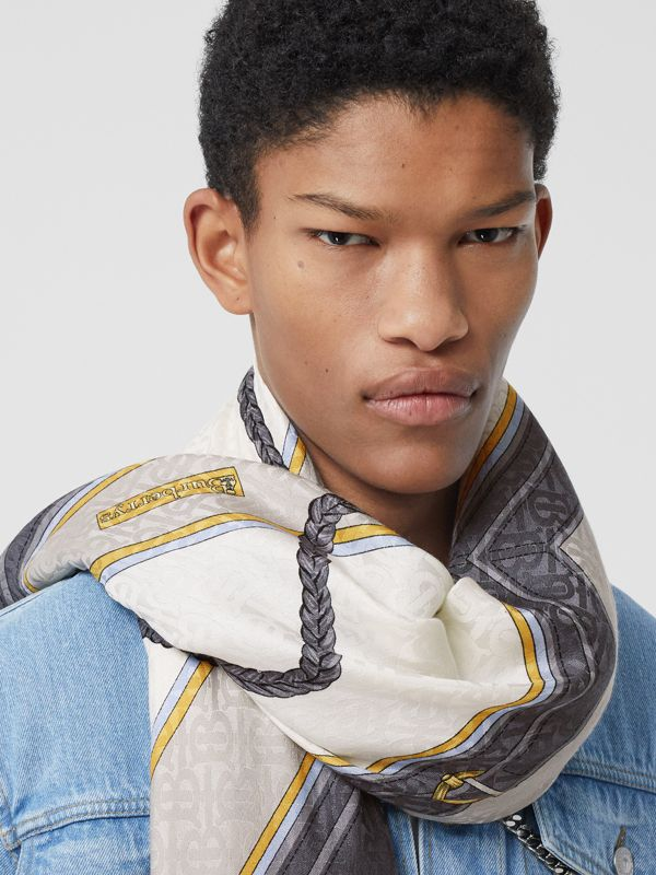 Archive Scarf Print Silk Wool Large Square Scarf in Grey | Burberry - cell image 3