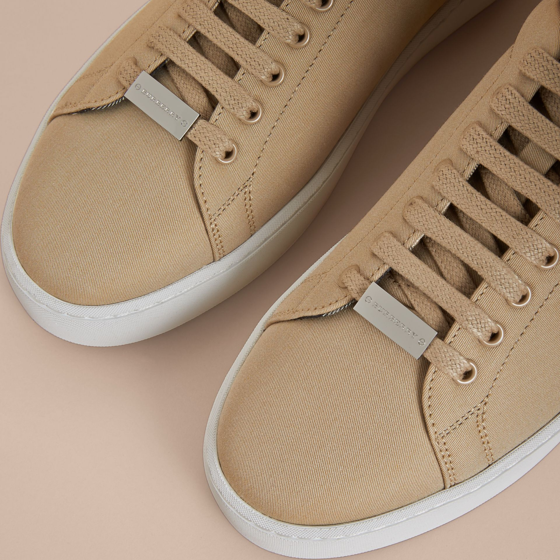 Check Detail Cotton Trainers in Honey - Women | Burberry - gallery image 2