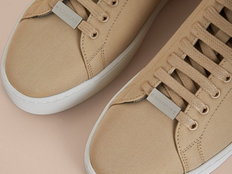 Check Detail Cotton Trainers in Honey - Women | Burberry - cell image 1