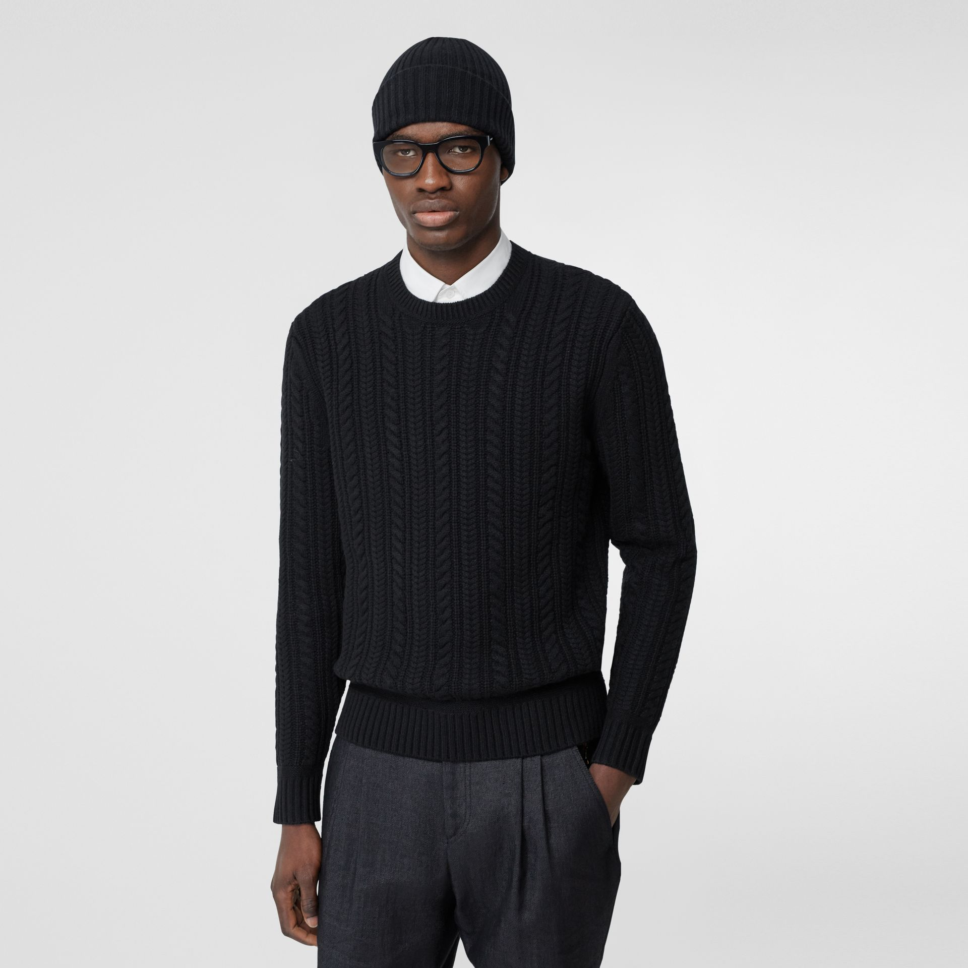 Cable Knit Cashmere Sweater in Black - Men | Burberry - gallery image 4