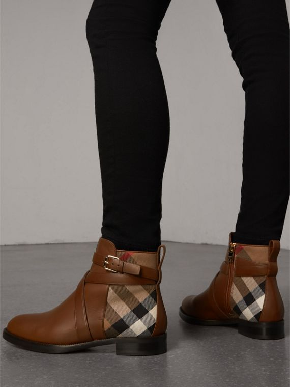 Strap Detail House Check and Leather Ankle Boots in Bright Camel - Women | Burberry Australia - cell image 2
