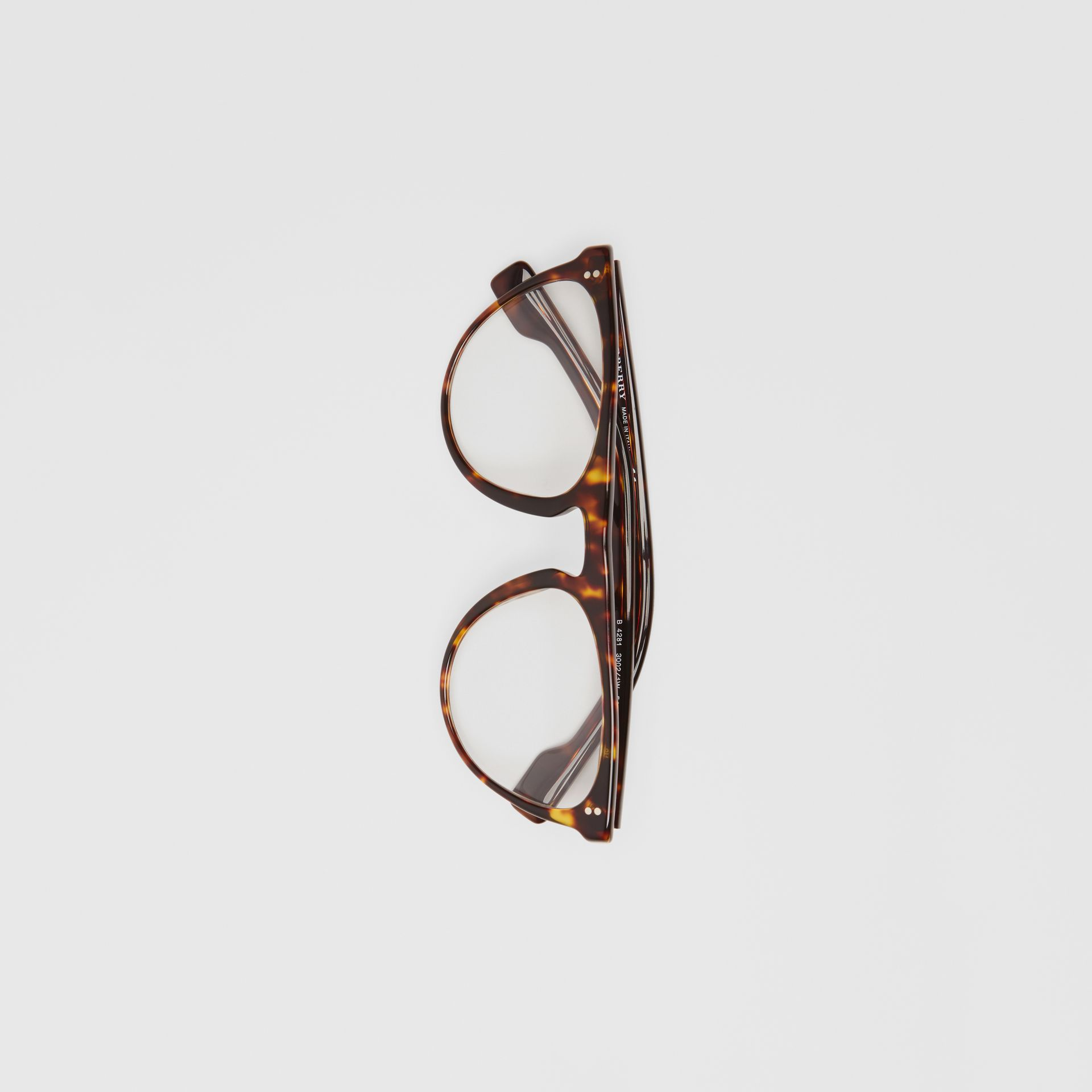 Keyhole D-shaped Optical Frames in Tortoise Shell - Men | Burberry United Kingdom - gallery image 3
