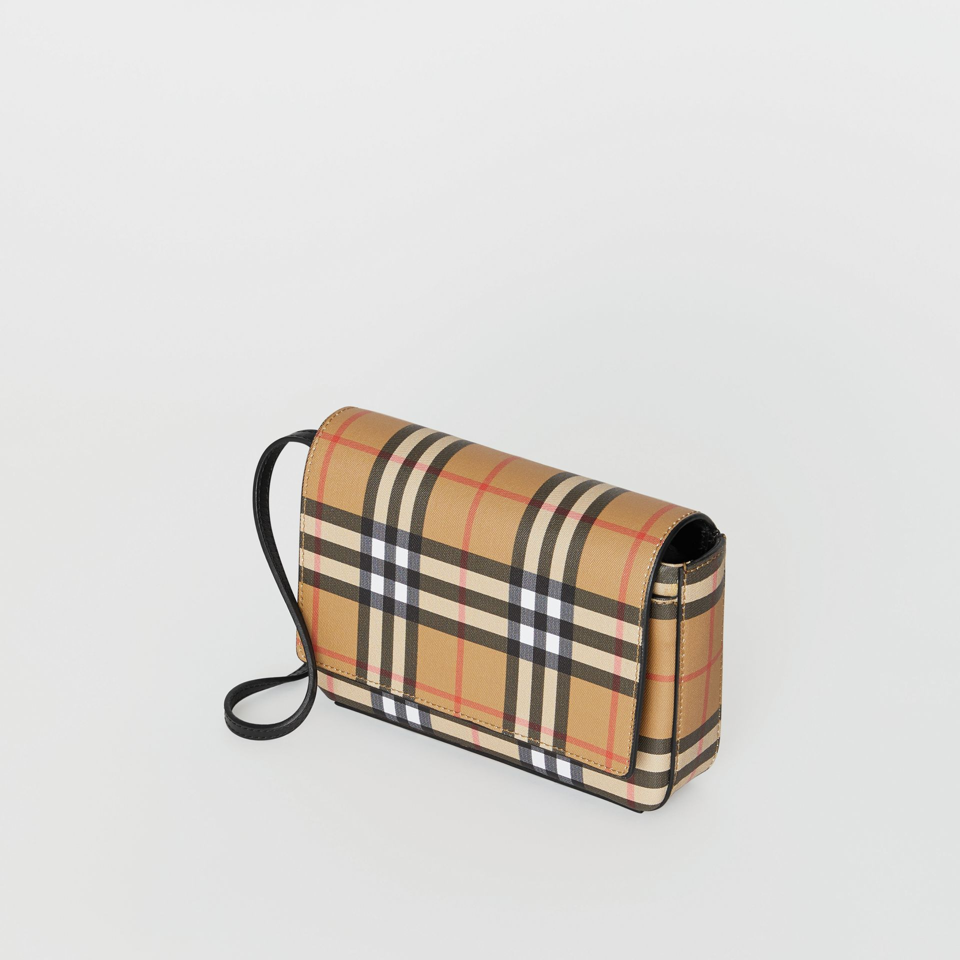 Vintage Check and Leather Wallet with Detachable Strap in Black - Women | Burberry - gallery image 2